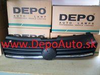 VW POLO 06/09- predná maska / čierna s chrómovou lištou