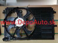 VW POLO 06/09- ventilátor chladičov 1,2TDi-1,2TSi-1,4TSi-1,6TDi/ Komplet/ s klimatizáciou