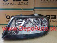 VW Sharan 5/00- predné svetlo H1+H7,Lavé / TYC / čierny rámik